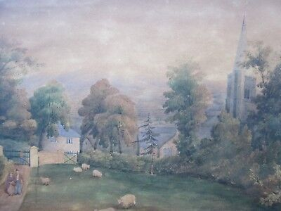 RARE Antique PRIMITIVE Painting c.1842 - HATHERLEIGH Church DEVON June 1842