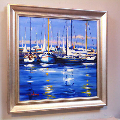 FRASER MILNE 'SUMMER DAY TROON MARINA' 19x19inch FRAMED SCOTTISH OIL PAINTING