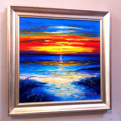 FRASER MILNE 'SUNSET ISLE OF BARRA' 19x19inch FRAMED SCOTTISH OIL PAINTING