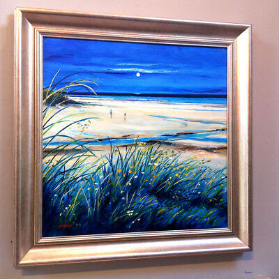 FRASER MILNE 'MOONLIGHT ON MORAR SANDS' 19x19inch FRAMED SCOTTISH OIL PAINTING
