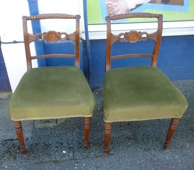 Very Pretty Pair Of Georgian Mahogany Hall Or Bedroom Chairs (2)