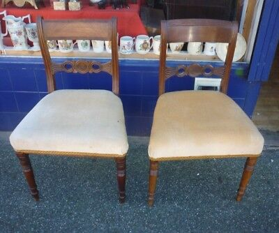 Very Pretty Pair Of Georgian Mahogany Hall Or Bedroom Chairs (1)