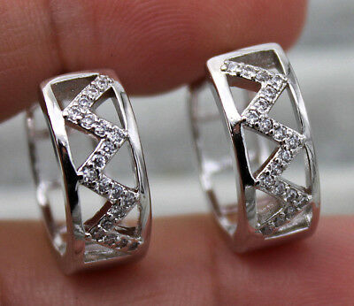 "18K White Gold Filled- Hollow ""W"" Wave 2-Layer Topaz Gems Women Party Earrings"
