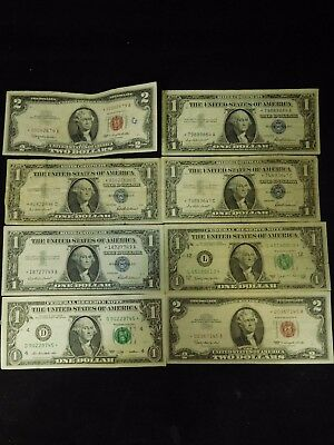 8 1957 1963 2009 $1 $2 United States Federal Reserve Silver Certificate Star Not