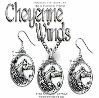Cheyenne Winds Necklace & Earrings Set Horse Rodeo Cowboy Horses - Free Ship  #c