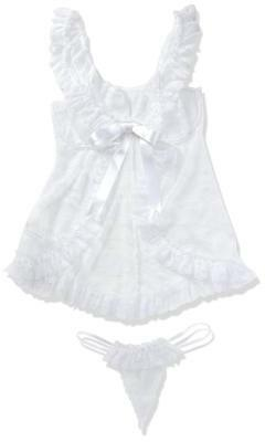 Softline Collection Babydoll Nuisette Erika avec G-string vita Blanc M