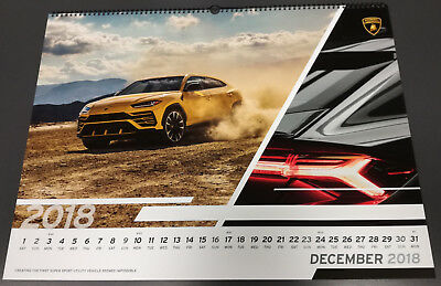 Official Lamborghini Wall Calendar 2018 Kalender Calendario Very Rare ! New!