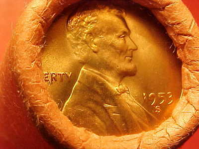 1953-S Obw Original Bank Wrapped Roll Bu Uncirculated Lincoln Wheat Cent Pennies