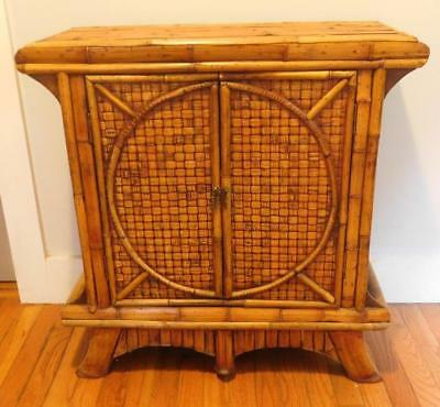 Mid-Century Modern Hollywood Regency Bamboo Cabinet Night Stand Asian Style