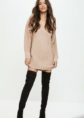 9baa325dbb0 Missguided Nude V Neck Oversized Ribbed Knitted Slouchy Jumper Dress Sweater