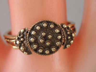 Rare Antique Victorian Etruscan 14K Gold Puzzle Ring Gorgeous Sz 7 1/2 Look
