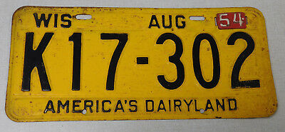 1954 Wisconsin passenger car license plate