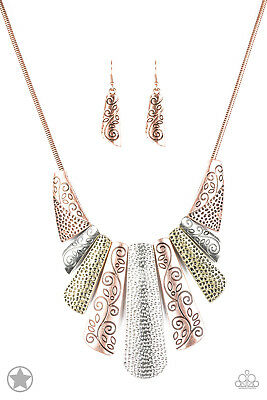 Paparazzi UNTAMED Copper Blockbuster- 17 Necklace and Earrings Set NEW