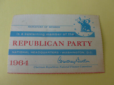 Republican Party 1964 Unsigned Membership Card (See Photos)