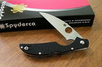 SPYDERCO New Black G-10 Handle Kiwi With Plain Edge VG-10 Blade Knife/Knives