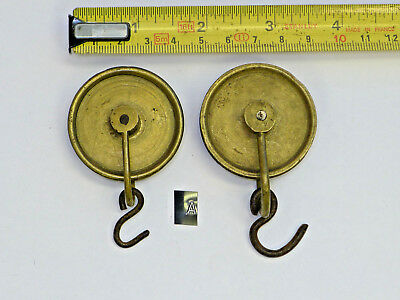 #A) PAIR of Antique Longcase GUT LINE SPOOLS/PULLEYS for 8-day CLOCK