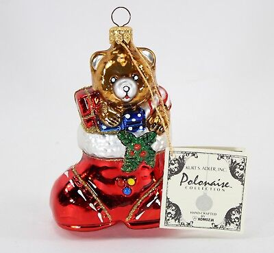 Polonaise Bear in Boot with Gifts, Glass Christmas Ornament, Kurt Adler, 1990's