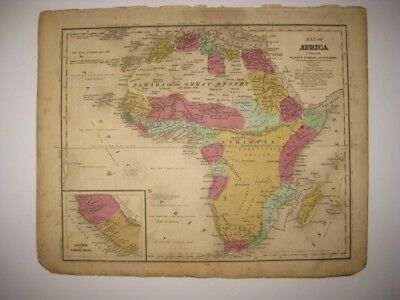 Superb Antique 1844 Africa Handcolored Map Liberia Sierra Leon Moon Mountains Nr