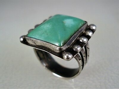 VERY OLD NAVAJO STERLING SILVER & SQUARE BEVELED GREEN TURQUOISE RING sz 6