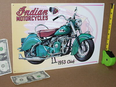 INDIAN CHIEF 1953 -OLD Motorcycle SIGN Dated '96 -SHOWS alot of CLOSE-UP DETAILS