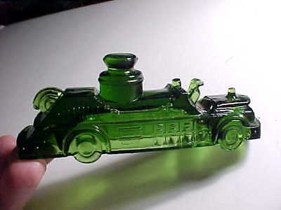 Vintage Or Antique Candy Container Fire Engine Truck In Dark Green Glass Vg+