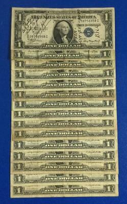 1935A-1957B $1 Blue SILVER Certificates Set of 15 Assorted Rough X958 Currency