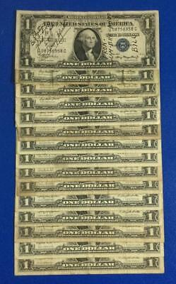 1935A-1957B $1 Blue SILVER Certificates Set of 15 Assorted Rough Currency