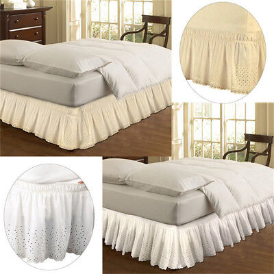 Elastic Bed Skirt Dust Ruffle Wrap Around Easy Fit Embroider Bedspread Queen