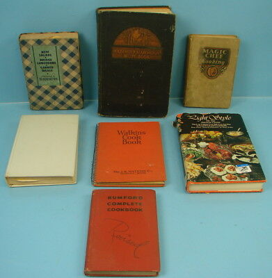 Lot of 7 Vintage Cookbooks Rumford Searchlight Light Style Complete Preserving