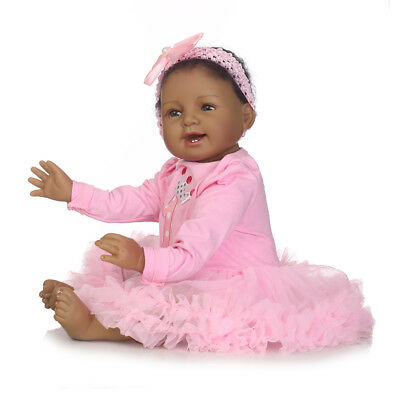 "22"" Reborn African American Doll Black Silicone Baby Dolls that Look Real Girl"