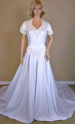 VTG 90s Sequin Pearl Satin Sweetheart Full Skirt Cathedral Train Wedding Dress