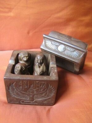 Antique Collection Set of 4 Canopic Jars Egyptian Organs Funerary Statues in BOX