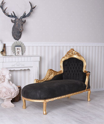 Chaise Longue Baroque Sofa Recamiere Black Gold Daybett Ottoman