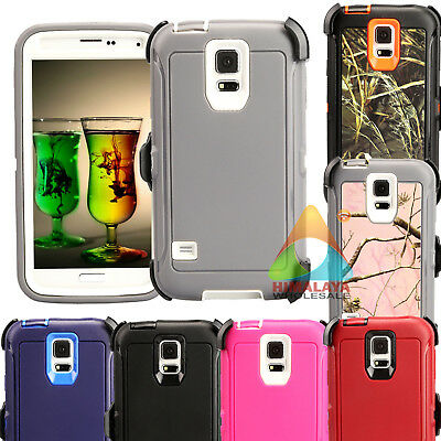 For Samsung Galaxy S5 S 5 Case (Clip fits Otterbox Defender) Screen Protector E