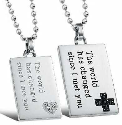 Partner Chain Necklace Stainless Steel Pendant PK52 the since I Met You