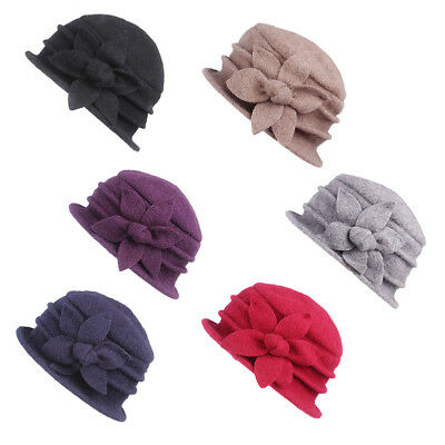 Women Cap Hat Ladies 100% Wool Crochet Bucket Basin Autumn Winter Flower Purple