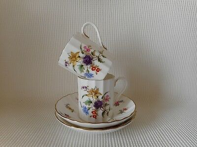 Two Royal Worcester Roanoke Coffee Cups & Saucers  Very Good Condition