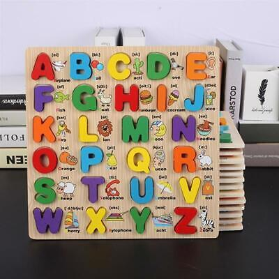 Children Wooden Toys Puzzle Colourful ABC Shape Kids Toddler Alphabet Number LC