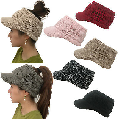 Women Girls Ponytail Baseball Cap Warm Wool Knit Hat Empty Top Beanie Caps