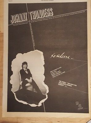 Johnny Thunders So alone  1978 press advert Full page 28 x 39 cm poster