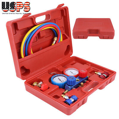 R134A HVAC A/C Refrigeration AC Manifold Gauge Set Auto Serivice Tool  With Case