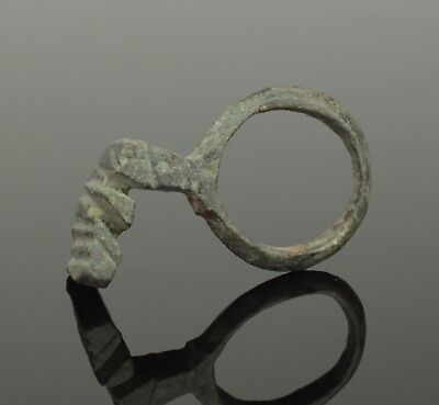 Ancient Roman Bronze Ring Key 2Nd Ad 090