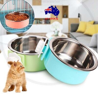 Pet Dog Cat Puppy Stainless Steel Feeder Feeding Water Food Hanging Cage Bowl