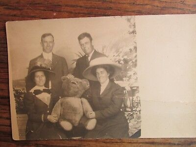 Antique Vintage Old Real Photo Coney Island Large Teddy Bear Postcard RARE!
