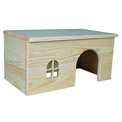 Trixie Wooden House For Rabbits, 40 x 20 x 23cm - Rabbits 23cm Flat Roof Pine