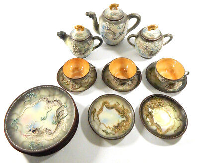 Mid-Century Japanese Porcelain Moriage Dragonware Tea Set and 6-Plates