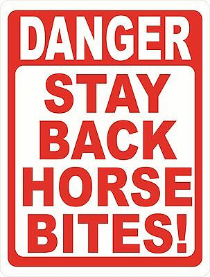 Danger Stay Back Horse Bites Sign. Size Options. Safety Horses Stable Caution