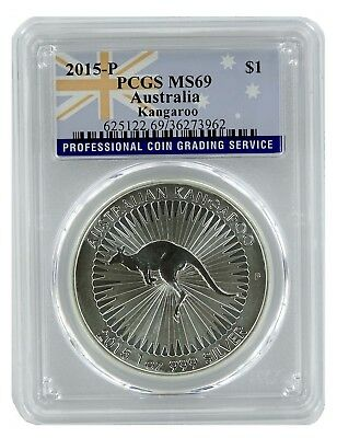 2015 Australia 1oz Silver Kangaroo PCGS MS69 - Flag Label