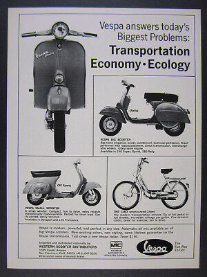 1971 Vespa 180 Rally 90 Sport Scooters Ciao Moped photos vintage print Ad