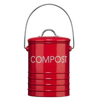 Premier Housewares Compost Bin With Handle - Red - Bins Garden Bucket Waste